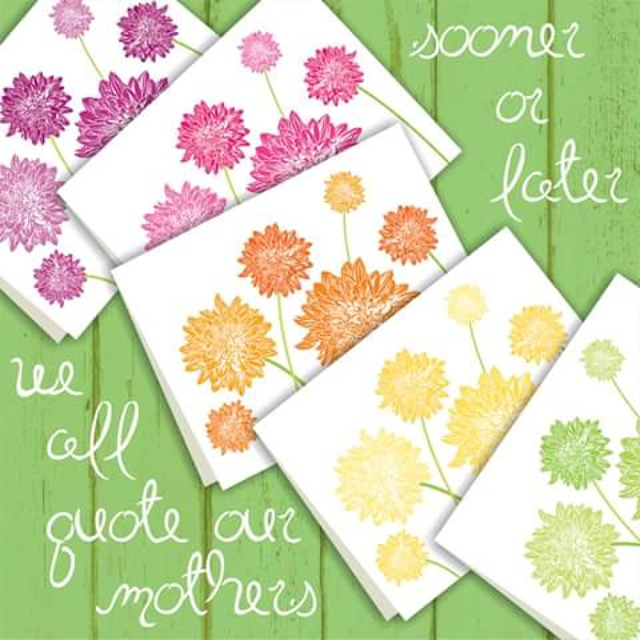 Dahlia Blossom Note Cards by Shalom Schultz Designs in purple, pink, orange, yellow and green. Perfect for spring and Mothers Day. Printable digital download.