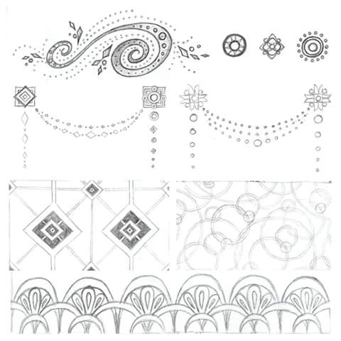 1920s Great Gatsby themed pencil sketches for a wedding invitation design by Shalom Schultz Designs. Geometric art. Modern floral drawing. Jewelry design.