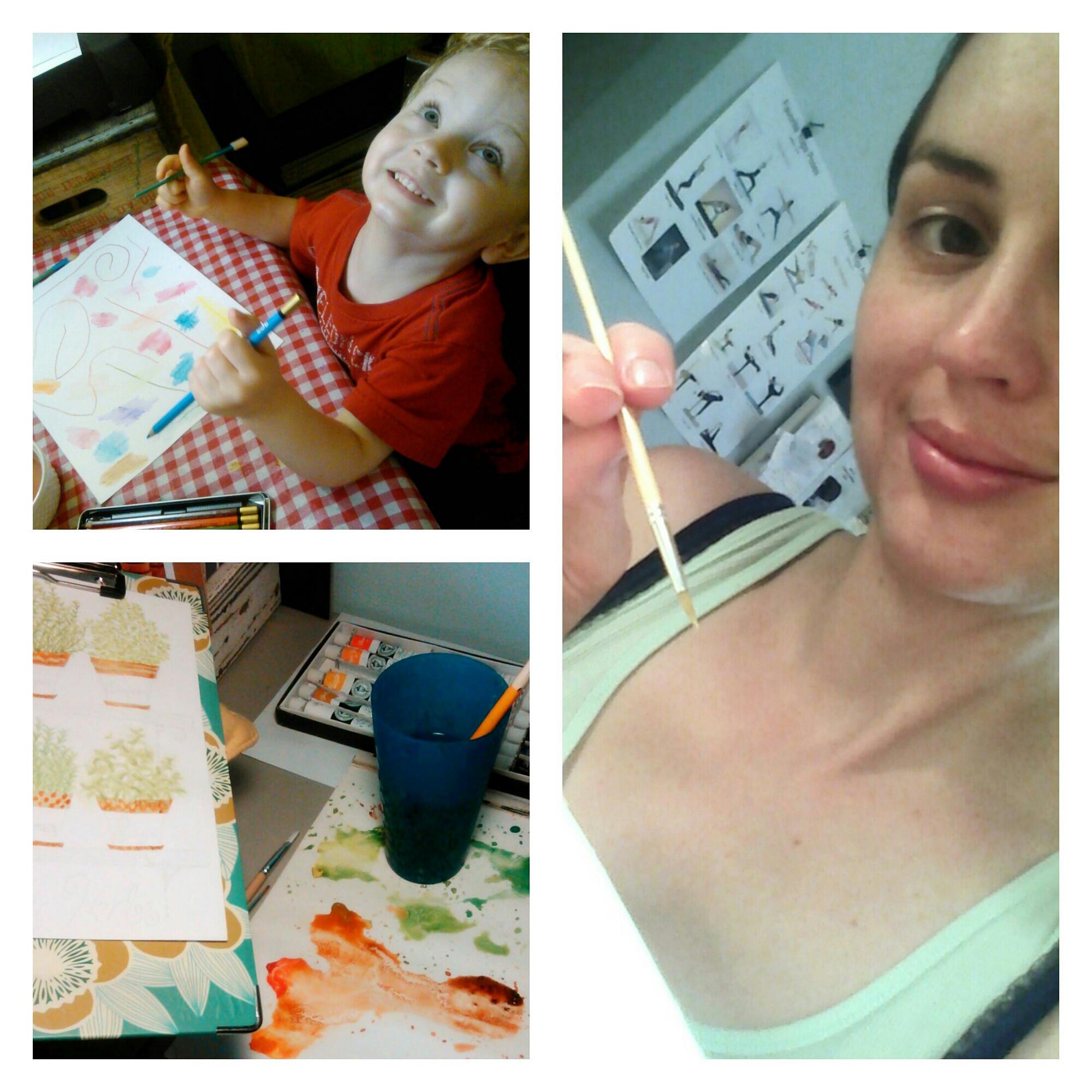 Kid Friendly Art Studio by Shalom Schultz Designs. Children's art corner. Preschool art. My son painting with me.