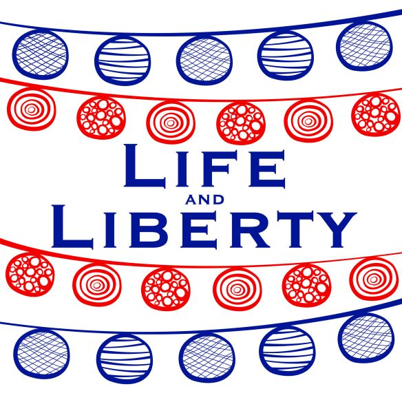 Hanging paper lanterns in summer graphic illustration by Shalom Schultz Designs. Life and Liberty. 4th of July. Independence Day. 2015 calendar artwork.