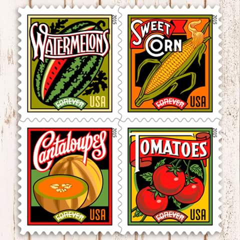US Postal Service Farmers Market Forever Stamps. Vintage style graphic design, signage and typography. Watermelons, sweet corn, cantaloupes, tomatoes.