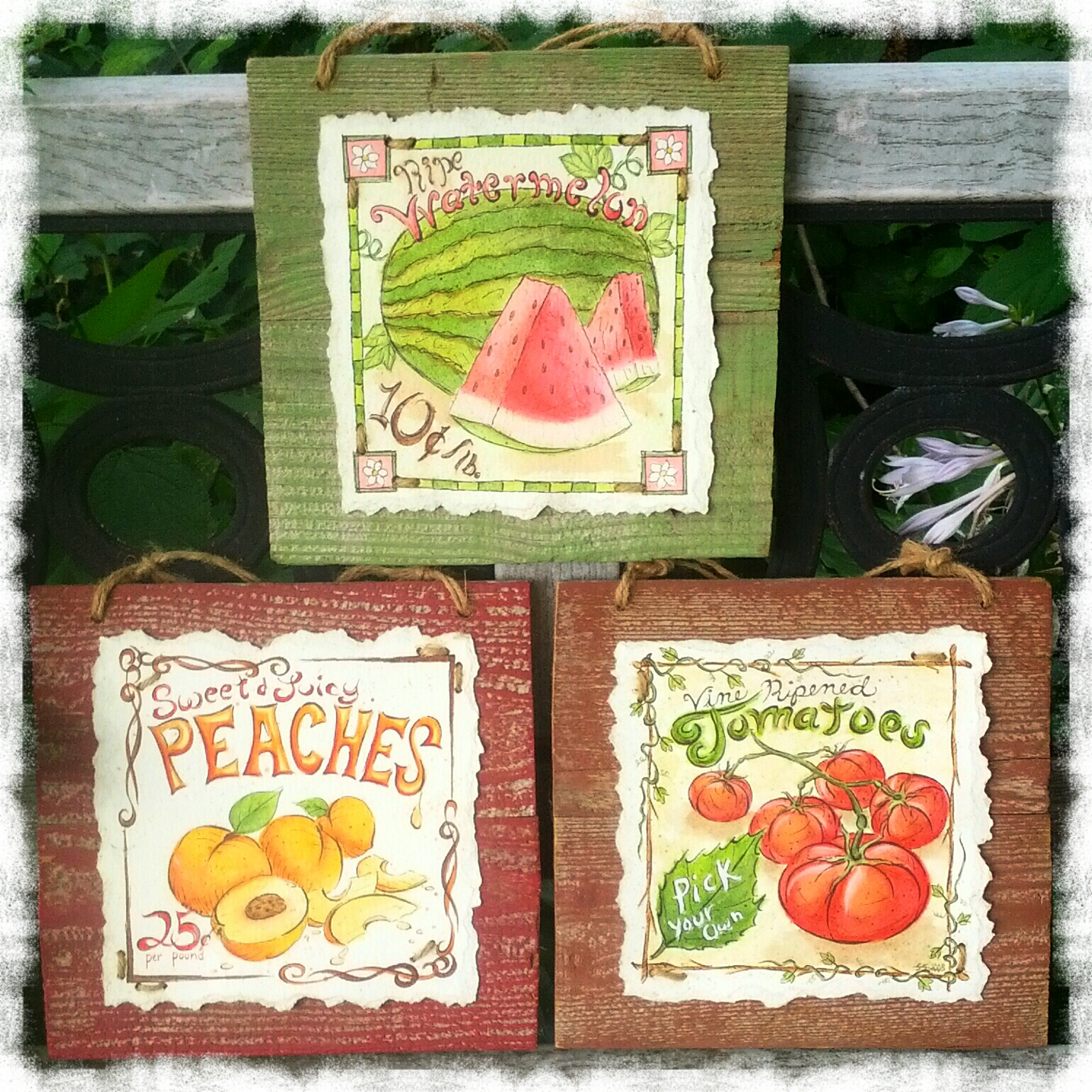 Watercolor fruit and vegetable farmers market sign paintings by Shalom Schultz Designs. Vintage style typography design. Watermelon, peaches, tomatoes. Country cottage style art.