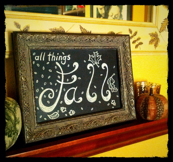 All Things Fall Free Printable Chalkboard Art by Shalom Schultz Designs. Autumn illustration decor. Country cottage style rustic decorating. Falling leaves and acorns. Black and White.