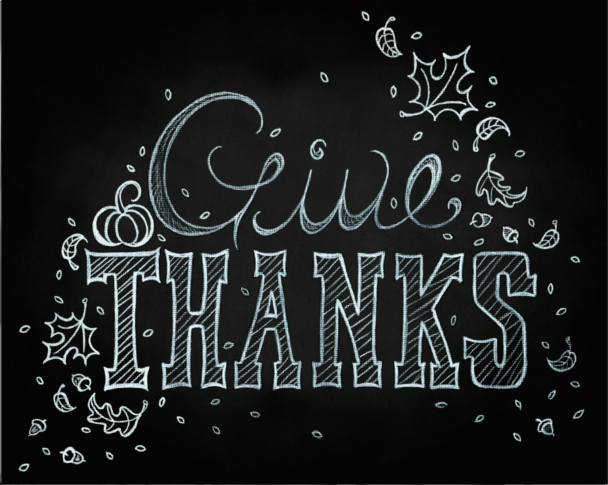 Give Thanks Chalkboard Art Sign by Shalom Schultz Designs with hand drawn leaves, acorns and typography