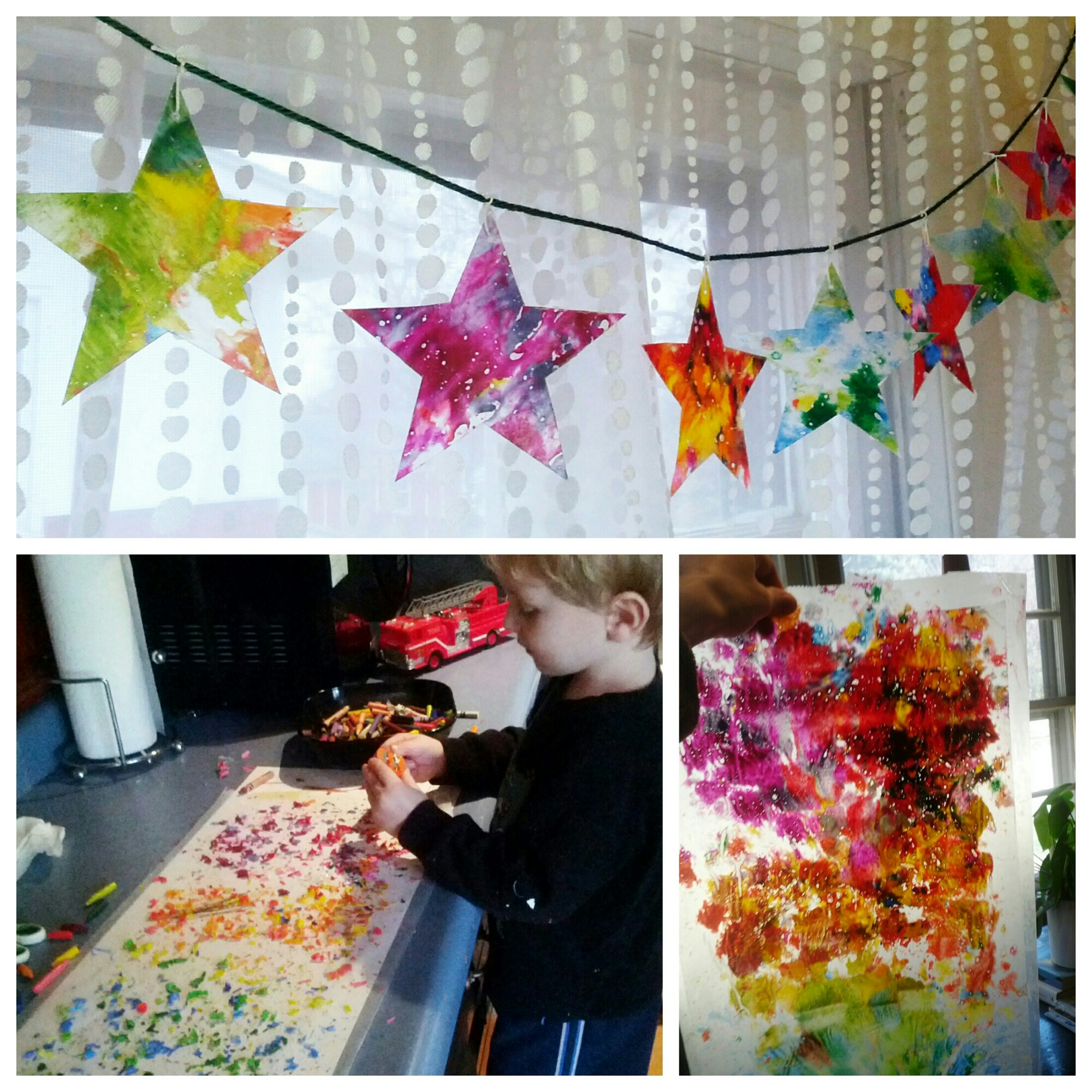 Kids Christmas diy paper star ornament craft uses crayons & wax paper for a faux stained glass hanging that will look amazing in any window. Preschool art project. Make a fun & easy suncatcher for the holidays. By Shalom Schultz Designs.