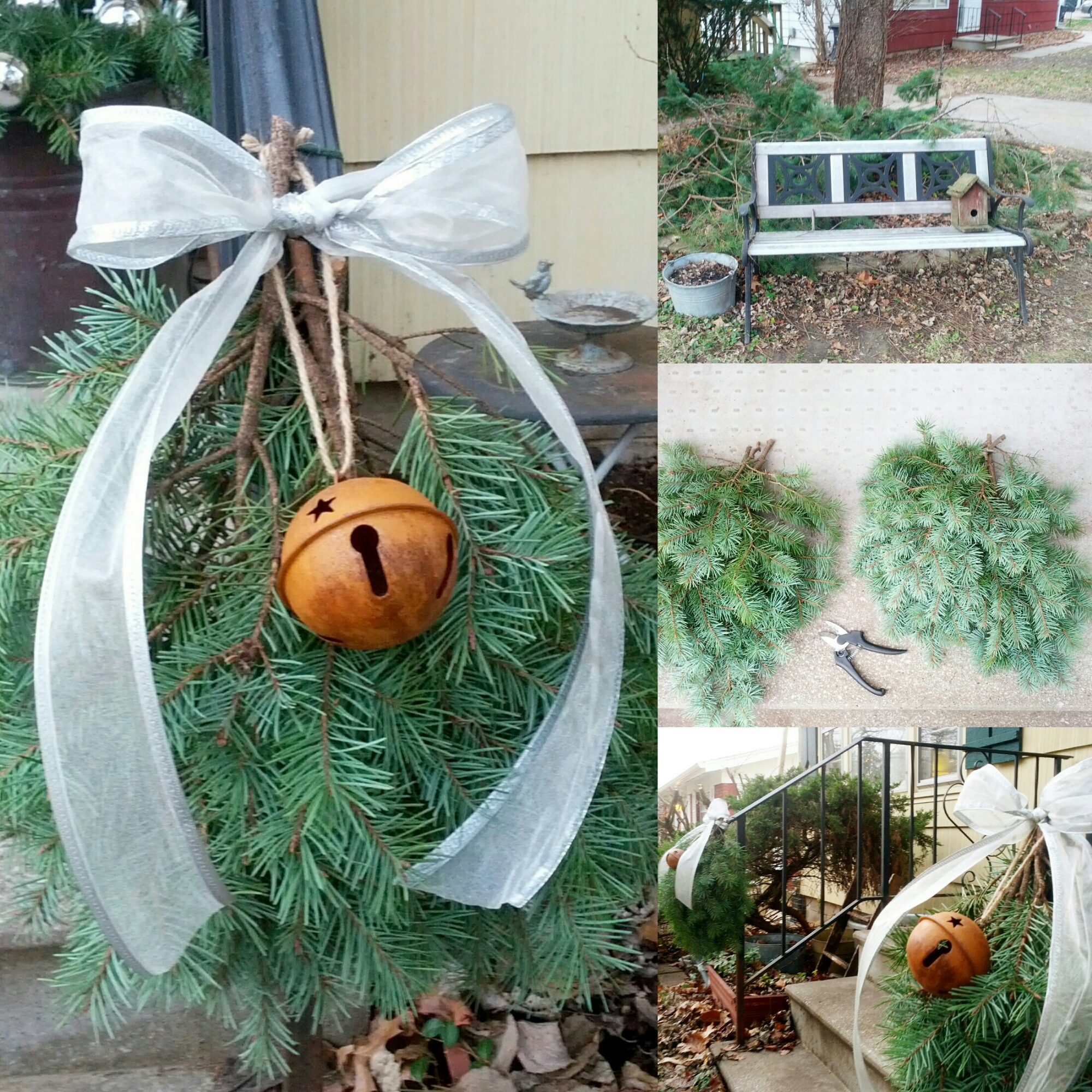 Real Pine Bough Swags for Front Porch with Silver Ribbon and Rustic Jingle Bells. Country cottage style Christmas & holiday outdoor decorating. By Shalom Schultz Designs.