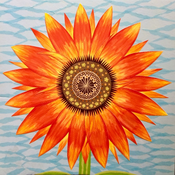 """""""Sunflower Study"""", mixed media collage by Shalom Schultz"""
